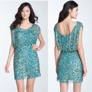 AIDAN MATTOX Teal Sequin Mini Dress 0382